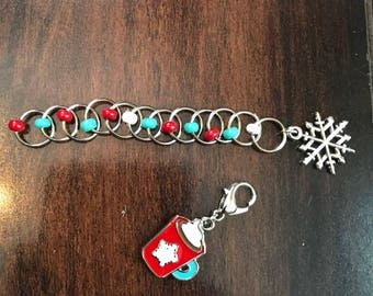 Hot Cocoa Enamel Stitch Marker Set, Progress Keeper, ring markers, knitting supplies, knitting markers, Clip on Charm, stitchmarkers, gift