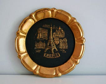 Paris Souvenir Plate, Embossed Copper Plate, Vintage Wall Hanging, Eiffel Tower, Souvenir Metalware, French Collectible, Tourist Kitsch
