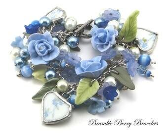 Blue Brides Bracelet Bracelet Rose Bridal Bracelet  Blue Flower Bracelet  Broken China Bracelet  Gift for Her  Handmade Bride Bracelet