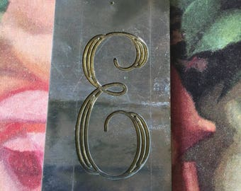 Letter  E   Vintage Engraving Plates Small Metal Plates for Personal Engraving , Altered Art, Collage and Jewelry Making.