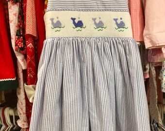Whale Smocked Dress Girls 4