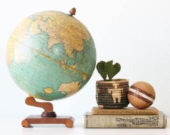 "Vintage Globe, Cram's Universal Terrestrial 10 1/2"" Globe, Wooden Base"