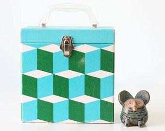 Retro Record Box, Mod Green and Blue