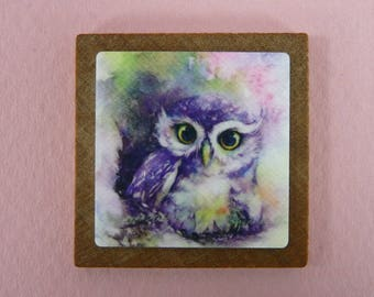 MINIATURE PICTURE For Dollhouse Curio Shadowbox Owl Watercolor Wall Art Painting Doll House Decor Room Box Wood Frame Metal Mini