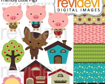 35% OFF SALE Clipart Friendly Little Pigs - digital images, instant download, commercial use