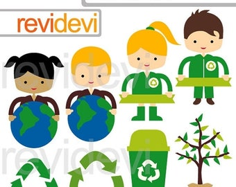 35% OFF SALE Recycle and love the earth clipart - Go Green Kids - Earth day, globe
