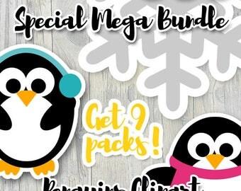 Cute penguins clipart sale / die cut planner stickers commercial use clip art download / winter penguin, snowflakes clipart bundle