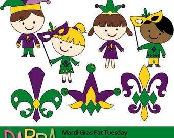 Mardi Gras clipart, kids, fleur de lis / New Orleans Fat Tuesday clip art commercial use, instant download