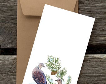 Two Turtledoves-- 8 Blank flat cards and envelopes