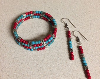 Blue Red Turquoise Magnesite bracelet memory wire and matching earrings