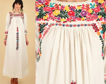 ViNtAgE 60's 70's Floral Oaxacan Mexican Embroidered Longsleeve Maxi Dress / Cotton Handmade Artisan Hippie BoHo Wedding Summer Small S