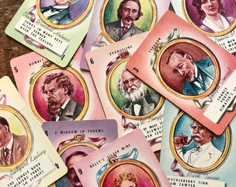 Authors Cards - Set of 10 - Illustrations of Famous Novelists and Writers, Vintage Authors Cards, Children's Playing Cards, Russell Cards