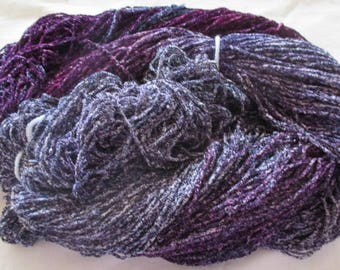 Hand dyed Plush Rayon Chenille Black Fleck Yarn  PURPLE FLAME  -  360 yds