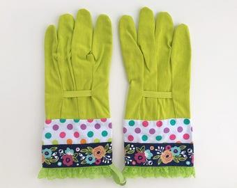 designer gardening gloves. Designer Garden Gloves  Flowers Polka Dots Lace Floral Gardening Lime green gloves Etsy