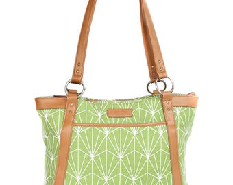Laptop Tote Bag in Greenery and White Art Deco Pattern with Tan Camel Faux Leather - Laptop Bag, Laptop Tote, Canvas and Vegan Leather