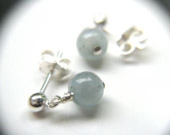 Genuine Aquamarine Stud Earrings . March Birthstone Jewelry . Healing Aquamarine Earrings Dangle Studs - Juliet Collection
