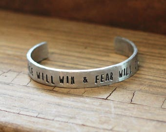 Peace Will Win Bracelet, Hand Stamped Cuff, Skeleton Clique