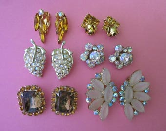 Jewelry DeStash Rhinestone Clip Earrings  6 pairs