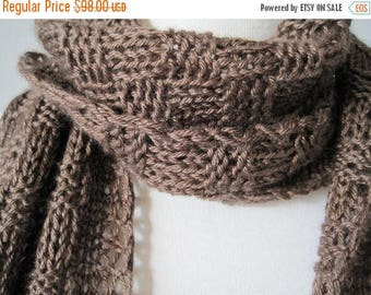 First Fall Sale - 15% Off Proper  Men's Scarf in Classic Brown  -  Hand Knit Luxury Silk and Merino Wool Scarf / Muffler for Men or Women