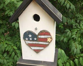 Flag Heart Primitive Birdhouse Patriotic Country