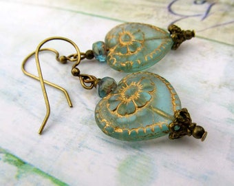 Heart earrings dangle drop earrings Victorian jewelry gift for her Aqua earrings