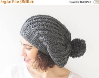 20% WINTER SALE Dark Gray Slouchy Hat with Pon Pon by Afra