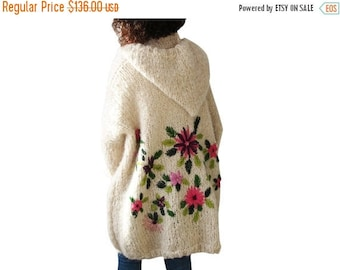 20% WINTER SALE Embriyodered Hand Knitted Wool Cardigan