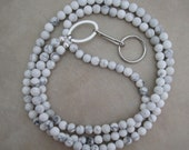white howlite lanyard badge ID holder with silver accents