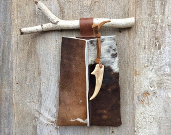 Cowhide Wall Pocket - Stocking - Small Pouch - Rustic Home - Cabin - Ranch - Unique Year Round Door Decoration - Stacy Leigh Leather