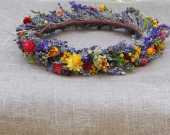 Bright Everlasting Bridal Flower Crown Dried Lavender Dried Flowers for Brides, Bridesmaids, Flowergirls Boho Natural Rustic Woodsy Weddings