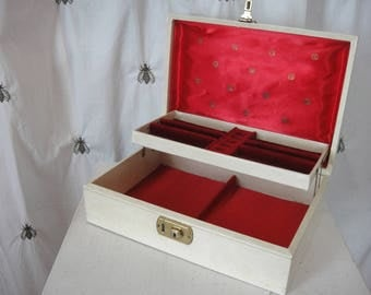 Vintage Jewelry Box, Ivory with Green Leaf Embossed Detail and Red Satin and Velvet Interior, Two Tier
