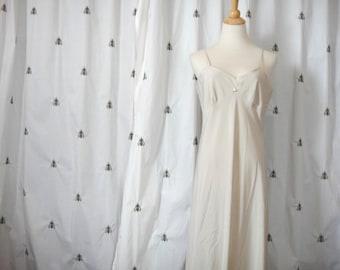 Vintage Slinky Beige Nightgown, Full Length Slip, Pin Up, Flower Appliqué, Long, Size Large