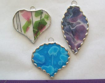 Glass Christmas ornament set 3 stained glass ornaments in various shapes