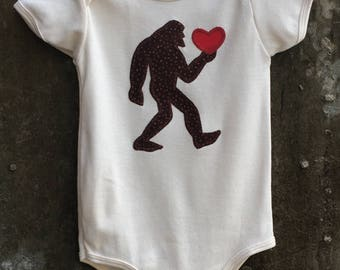 Bigfoot LOVE - Baby Bodysuit for Boys or Girls - Fun Sasquatch Gift for Valentine's Day, Birthdays, Baby Showers and Photo Shoots