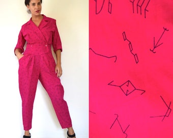 Vintage 80s 90s Hot Pink Country Western Cattle Branding Signs Novelty Print Cotton Jumpsuit (size small, medium)