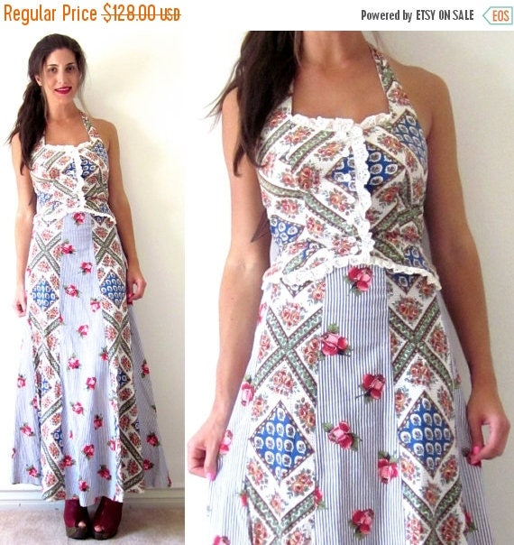SUMMER SALE / 20% off Vintage 70s Calico Pinstriped Halter Top and High Waisted Maxi Skirt (size xs, small)