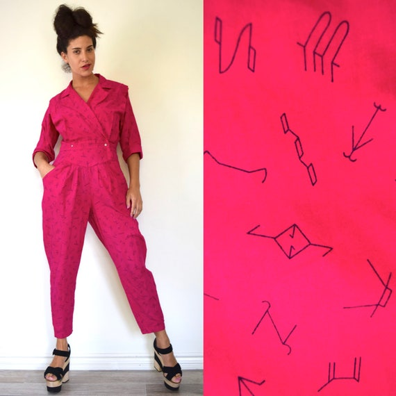 SUMMER SALE/ 30% off Vintage 80s 90s Hot Pink Country Western Cattle Branding Signs Novelty Print Cotton Jumpsuit (size small, medium)