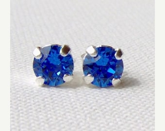 SALE Sapphire rhinestone stud earrings / Swarovski / 6mm / birthday gift / surgical steel / September birthstone / gift for her / blue earri