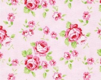 Tanya Whelan Fabric, Rambling Rose, Happy Rose, Pink White, Green, Floral - HALF YARD