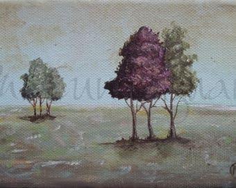 "Original Fine Art Painting - Acrylic on Canvas - 4"" x 6"" - Simple Tree Landscape Artwork"