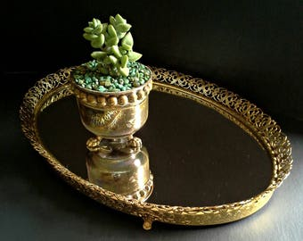 Gold Easeled Mirror Tray Footed Filigree Vanity Oval Pierced Standing Hanging