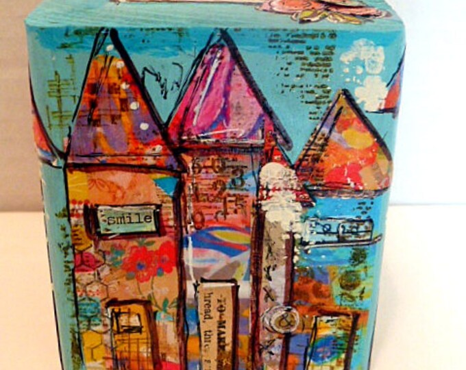 Mixed Media Art, Collage,  4x4x4x3-1/2high Wood Block -  See beauty everywhere