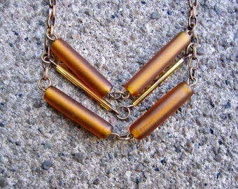 Eco-Friendly Chevron Design Statement Necklace - To The Point - Recycled Vintage Dark Brass Chain, Glass Tube Beads in Autumn Brown and Gold