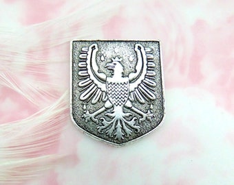 ANTIQUE SILVER Roayl Falcon Crest Stamping ~ Jewelry Findings (E 484) CV