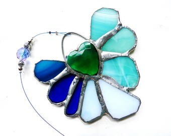 Stained Glass Flower Suncatcher Sunflower Ornament in Blue and Aqua with Green Crystal Heart - Tender Love