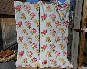 30s Roses Peonies Curtain Panels, pair, semi sheer cotton drapery - muted florals on eggshell white