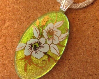 Dichroic Glass Pendant - Fused Glass Pendant - Decal Pendant - Flower Pendant - Dichroic Jewelry