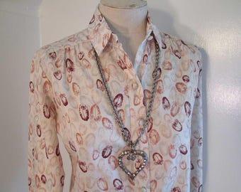 Feather Print Vintage 70s Blouse brown bird feather print blouse button front vintage blouse 1970s polyester shirt S M