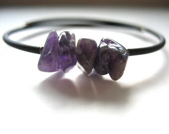 Amethyst Bracelet, Amethyst Stone Cuff Bracelet, Handmade Amethyst Gemstone Jewelry