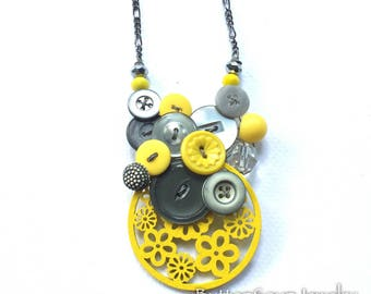 Button Necklace - Vintage Buttons in Yellow and Gray